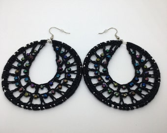 Crochet earrings, Beaded, silver, bohemian jewelry, crochet hoops, beaded earrings, crochet jewelry, hoop earrings, boho chic, black