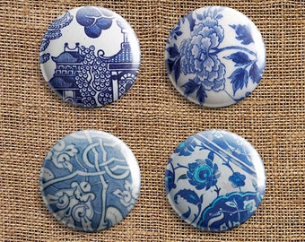 Set Of 4 Broken Pottery Pinback Button Badges (BP)