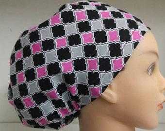 Womens Hybrid Style Surgical Scrub Hat Chemo Cap Pink Black Grey Diamond Grid