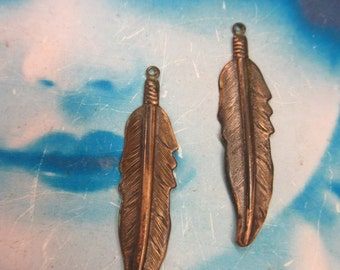 Hand Oxidized Patina Small Feather Stamping Charms  411HOX x2