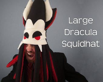 Vampire Squid Hat Plush Fleece Large Dracula