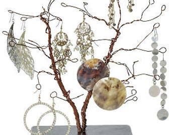 10.5 Inch Tall Forged Wire Jewelry Display Whimsical Design Tree