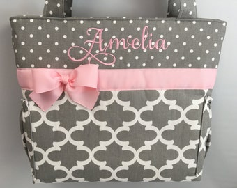 Quatrefoil and Dots ... GRAY w/ PINK Accents  ...   Diaper Bag... Bottle Pockets ... Tote ... Monogrammed FREE