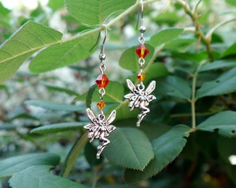 faerie charm earrings- fire opal crystal fairy drop earrings, orange