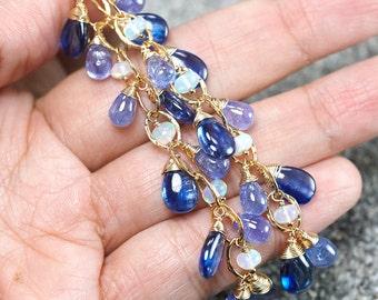 Kyanite dangle earrings, Tanzanite, Ethiopian Opal, CZ pave vermeil hooks ... LIVIUS Earrings