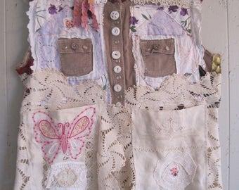 ANTIQUE LINENS Tunic Vintage Embroidery Applique -Wearable Folk Art Collage -  Crazy Quilt Patchwork + mybonny random scraps fabric