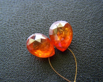 Top Grade Mandarin Garnet Drops - Pair - 7.5x10mm