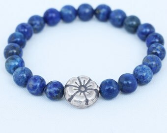 Denim Lapis Lazuli Wrist Mala Bracelet with Thai Silver Flower Guru Bead - Lapis Meditation Mala - Handmade Buddhist Wrist Mala