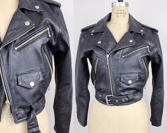 Vintage 1980s Black Leather Jacket | Cropped Leather Jacket | Leather Motorcycle Jacket | S