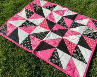 Bright Pink, White and Black Geometric Baby Quilt