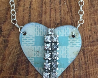 VALENTINES SALE Vintage Reclaimed Upcycled Tin Heart Necklace on Sterling Silver Chain, Gifts under 30, Gifts for Her, Ready to Ship
