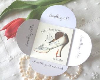 Silver Sixpence Wedding Gift Card Vintage Bride Antique White Embroidered Grey Shoe Something Old Something New- EnglishPreserves