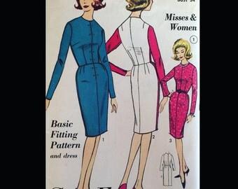 Vintage 50s 60s Fitted Sloper Basic Fitting Pattern Sheath Dress 3155 B34