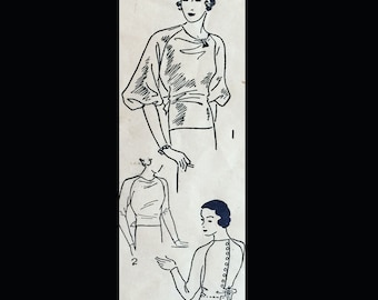 Vintage 30s Excella Back Button Thin Man Art Deco Style Blouse Top Sewing Pattern 4301 B40