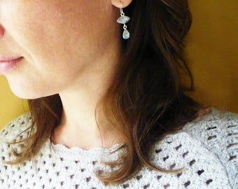 Moonstone Earrings in Sterling Silver. Geometric Rainbow Moonstone Silver Drop Earrings. Moonstone Earrings. Bridesmaid Earrings.