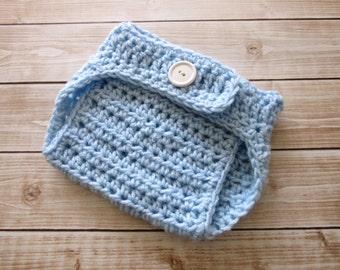 Baby Boy Diaper Cover, Crochet Baby Diaper Cover, Blue Diaper Cover, Newborn Diaper Cover, Baby Soaker, Diaper Cover Infant, Baby Photo Prop