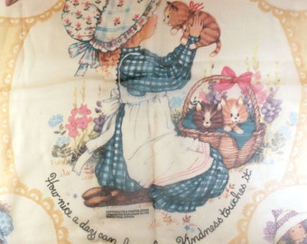 Pantaloons and Petticoats. 1970s sheer scarf with little girl and kittens.