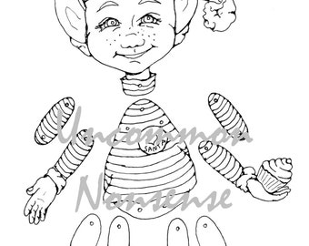 Christmas Elf jointed articulated paper doll puppet coloring page, download