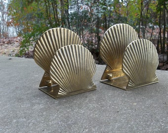 Double Shell Brass Bookends | Boho Home Decor | Vintage Bookends | Solid Brass Book Ends | Office Decor Desk Accessory Doorstop