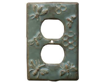 Honeybees Duplex Outlet Cover in Antique Teal Glaze