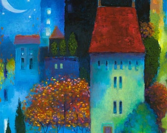 Whimsical Night Cityscape Print