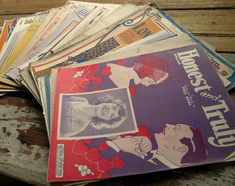 Vintage Sheet Music Booklets from 1920's and 30's - Approximately 50 Pieces