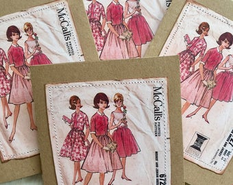 Vintage Dress Pattern Card Set from the Fifties 50s  Seamstress Sew 4 Large Greeting Cards