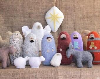 Felted Wool Nativity Set, Nativity Scene, Christmas Nativity, Christmas Creche, Christmas Story, Nativity, Manger Scene