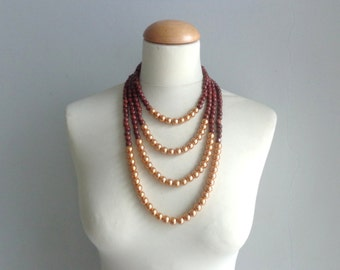 Brown gold chunky necklace modern multistrand statement necklace, pearl necklace