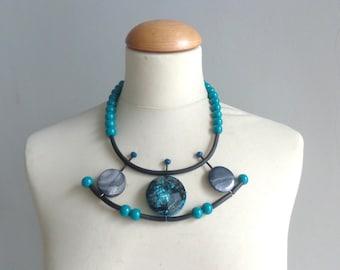 Blue necklace, blue statement, blue  rubber necklace, geometric statement necklace
