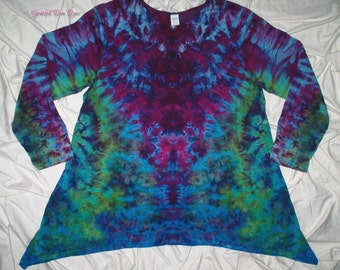 Tie dye shirt, 2xl ice dyed asymmetrical tunic, long sleeve, tie dye tunics by gratefuldan, festival clothing, rorschach inkblot test