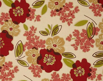 Red Floral Kitchen Cafe Curtains -2 panels/1 pair -Custom sizes & matching valance available -Magnolia Home Fashion Sydney Rainforest Fabric
