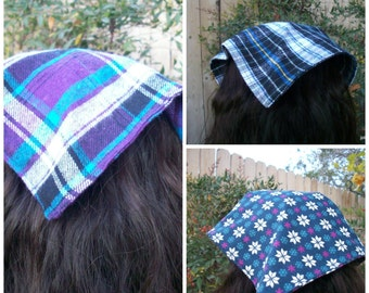 Warm Flannel Head Kerchief Plaid Purple Blue or Snowflake Head Kerchief Your Choice of Print from Selection of 3