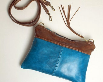 Cross body Purse Roxy Bag in Blue Leather with Removable Strap Clutch Bag
