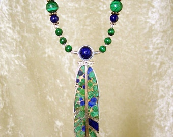 DEEP FOREST- OOAK Reversible Feather Necklace in Malachite-Lapis-Metal-Matrix, Malachite, Lapis Lazuli, and Sterling Silver
