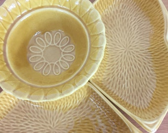 Mustard Yellow Maurice Calif USA S 14 Calif USA L56 Pottery Serving Bowl and Two Side Dishes Mid Century Modern