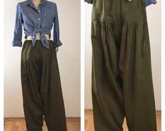 Olive Green Indian Harem Pants with Beaded Ties, Size Small to Medium