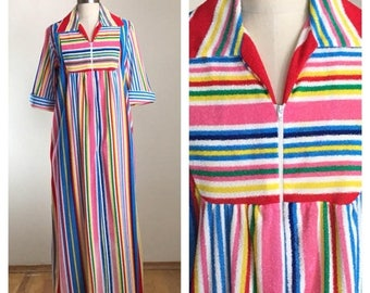 20% Off Sale 70s Rainbow Striped Terry Short Sleeve Maxi Length Robe or Swim Cover Up, XL to Plus Size