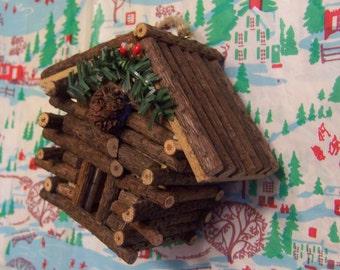 wood twigs miniature log cabin