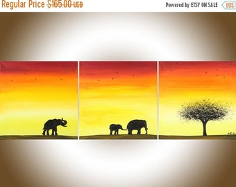 "Elephant art Animal painting red yellow orange oil painting wall art wall decor gift for couples nursery art ""African Sunset"" by QIQIGALLERY"