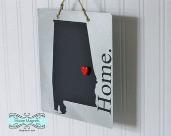 Alabama Home Sign Magnet board with Chalkboard State and Red Heart Magnet