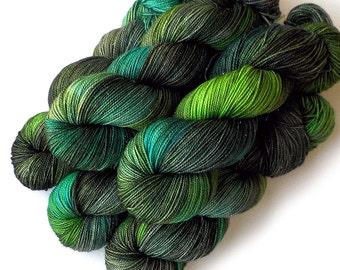 Hand Dyed Yarn Glimmer Superwash Merino and Nylon Sock Fingering Yarn - How Green Is My Valley, 430 yards