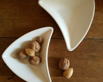 50s White Ceramic Boomerang Trinket/Appetizer Plates, Set of Two