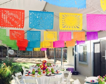 Fiesta Decoration Garland - Birthday Cinco de Mayo Rehearsal Dinner Paper Papel Picado Banners  First birthday 2nd 3rd 4th 5th 30th 40th