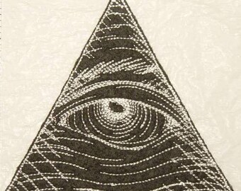 "Black - Eye of Providence -  All Seeing Eye - Hand Crafted Iron on Patch - Applique -  3"" x 3""  FREE Shipping"