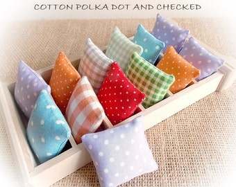 Spring Sale..Cotton Dollhouse Pillows...Miniature Cushions Polka Dots or Checks..Dolls' House Cushions... Selection of Colours