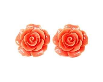 Clearance Sale Peach rose flower resin post earrings