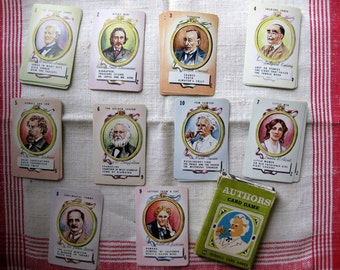 Vintage Authors Card Game, Full Deck of 40, Russell Card Games