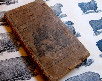 Vintage/Antique Small Book, Small Novel, The Spanish Guitar, a Tale,  Mid 1800s, Rustic, Hand Stitched Repair Binding, Illustrated