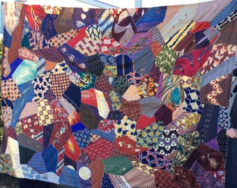 VINTAGE CRAZY QUILT, mens ties, silks, satins, hand sewn, ooak, gorgeous fabric